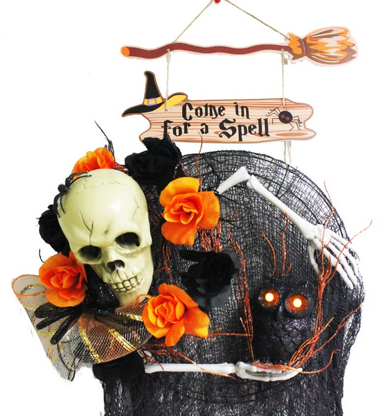 "Halloween Ghoulish Skeleton Wreath Light-Up LED Owl hanging from a Witchy ""Come in for a Spell"" Broom Sign Wreath"