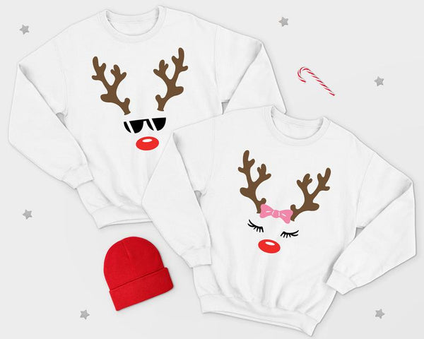 Reindeer Face Family Christmas Jumper Sweater Sweatshirt Set Funny Winter Gift Mum Mother Kid's Children's Dad Boyfriend Girlfriend