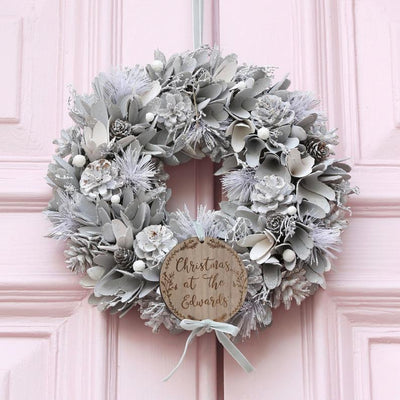 Silver Christmas Wreath,Outdoor Metal Christmas Decor,Christmas Decoration for Farmhouse Mantel, Rustic Christmas or Housewarming Gift