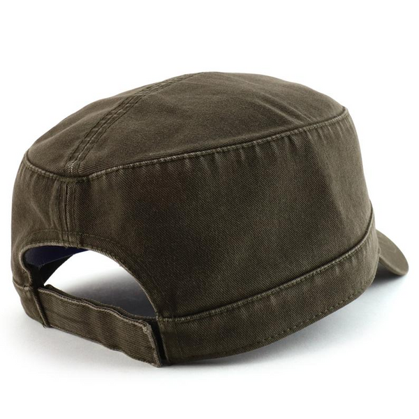 VOBOOM Summer Autumn Military Cap Men Women Washed Cotton Flat Top Army Hat with Air Hole Adjustable 162