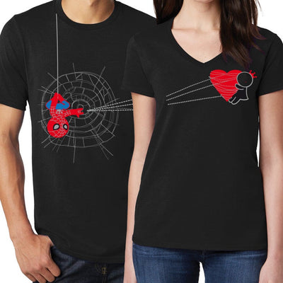 His and Hers Shirts Matching Couples Shirts Spiderman Shirt Black Spiderman Gift Avengers Shirt Gift for Boyfriend Couples Gift BoldLoft