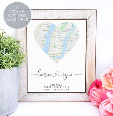 Engagement Map Print Gift, Engagement Gift for Couple, Gift for Couple, Map Print, Engagement Print, Gift for Future Mrs, Keepsake Map