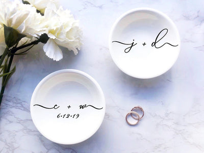 Engagement Gift for Couple | engagement jewelry dish engagement gift idea engagement gift for her couples initial jewelry ring trinket dish