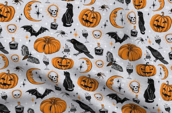 Halloween fabric, cute & fun spooky fabric, witch fabric, Children halloween fabric  100% cotton for Quilting and general sewing projects.        Update your settings