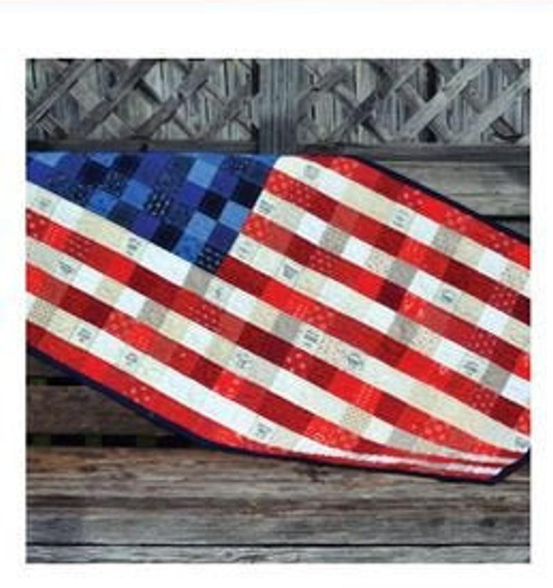 Beautiful American Flag Patch Quilt Fabric Kit -Patriotic Military USA Home Decor Wall Hanging Throw Gift 100% Quality Cotton 70
