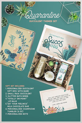 Quarantine Succs Without You Gift Box Set, Quarantine Gift Basket for Her, Best Friend Gift, Gift for Mom or Sister, Care Package Present