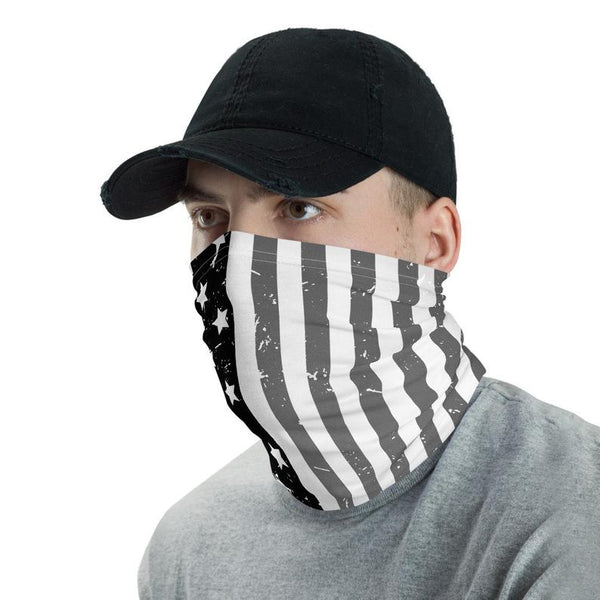 American Flag Neck Gaiter Patriotic American Flag Face Mask Cool Flag Neck Gaiter Gift Black And White American Flag Head Band