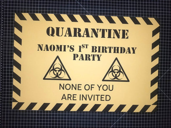 QUARANTINE Birthday Party Poster, Customizable, Fast Shipping