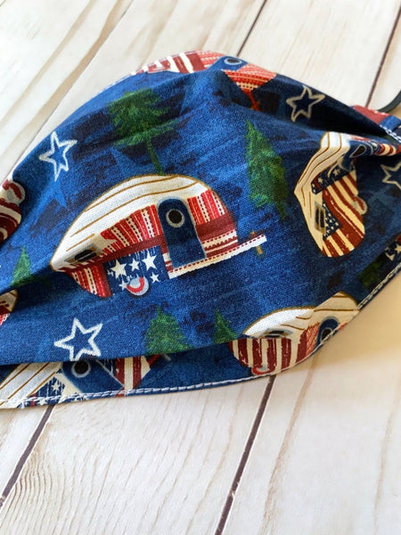 Face Mask Reusable and Washable - Patriotic Campers - Double Layer Cotton with Elastic Ear Loops - Ready to Ship - Reverses to Stars