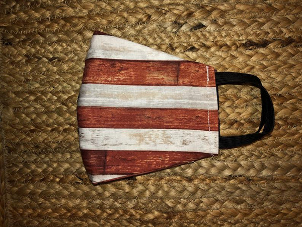Handmade men's patriotic American flag men's face mask 100% cotton fabric with filter pocket and elastic straps
