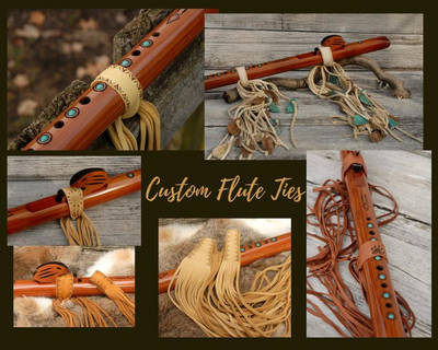 Flute Ties, Native American flute, Native flute accessory, Natural with tribal point design