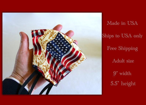 Face masks 3 layer cotton face masks washable reusable adult patriotic USA flag pattern face masks non medical