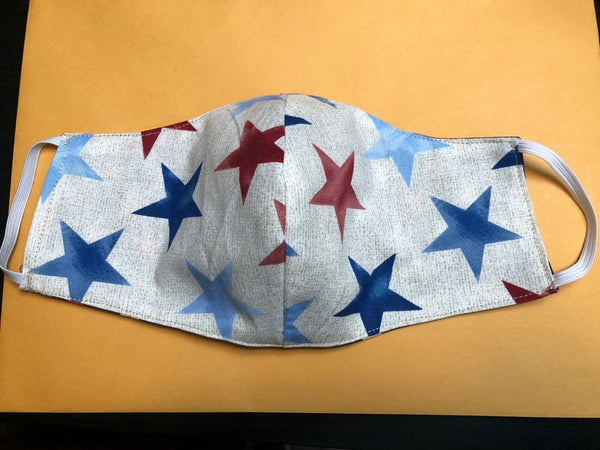 Washable reusable reversible double layer cotton face mask with filter pocket  in patriotic stars and various prints - priority shipping