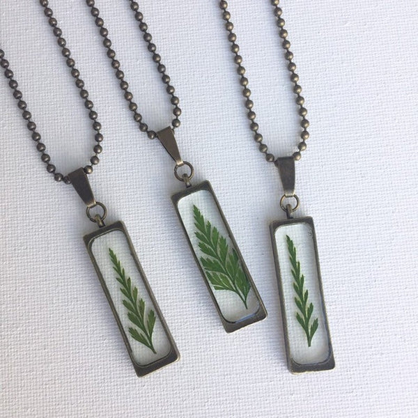 Pressed Real Fern Terrarium Necklace, Real Dried Flower Necklace, Botanical Birthday Gifts For Her, Dried Fern Necklace