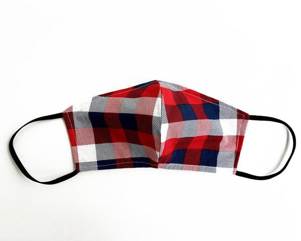 Face mask, Cloth Face Mask, Reusable Washable, reversible, Adult Face mask, Unisex face mask, Cotton face mask, Patriotic Check, Plaid