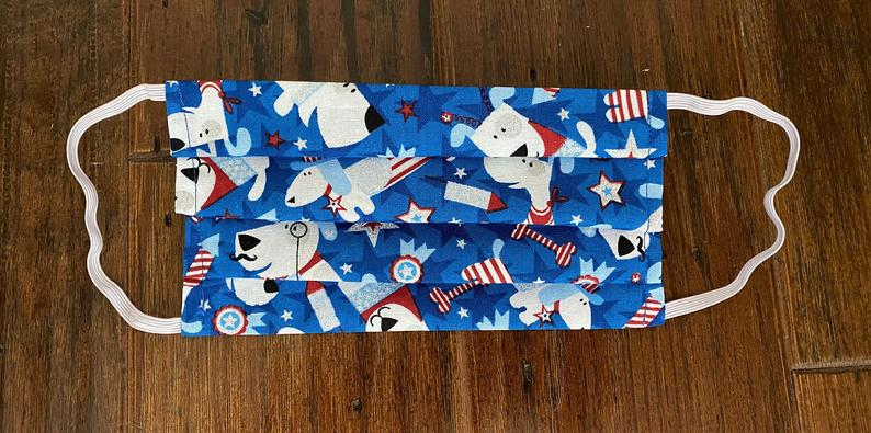 Face Mask, Adult Face Mask, Dog Pattern Face Mask, Patriotic Face Mask