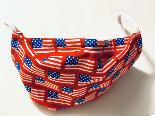Comfortable Cotton Face Mask - USA Patriotic FLAG - Washable, Reversible, Elastic or Strap choice. Sewn w Cotton & Flannel, Nose Bridge