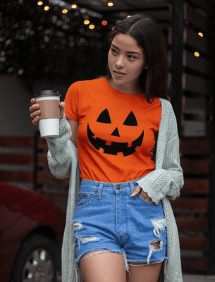 Halloween Pumpkin T-Shirt Jack O Lantern Face Fun Easy Costume Women T-Shirt