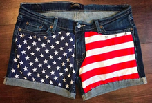 Girls Painted Denim, Jean Shorts, American Flag Jean Shorts, Painted Jean Shorts, 4th of July Jean Shorts