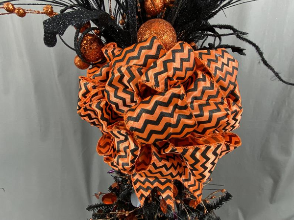 Halloween Tree Topper, Witch Leg Tree Topper, Orange and Black Tree Topper, Witch Decoration, Halloween Decoration, Topper for Tree