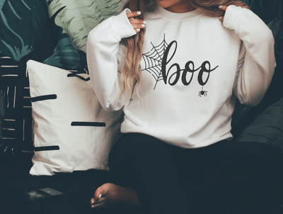 Halloween Sweatshirt For Women - Women's Halloween  BOO Sweatshirts - Your Choice of White or Black Sweatshirt