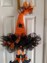 "Halloween Witch Hat Wreath Halloween Wreath 24"" Black and Orange Ribbon Glittery Spiders Witch Hat Wreath"