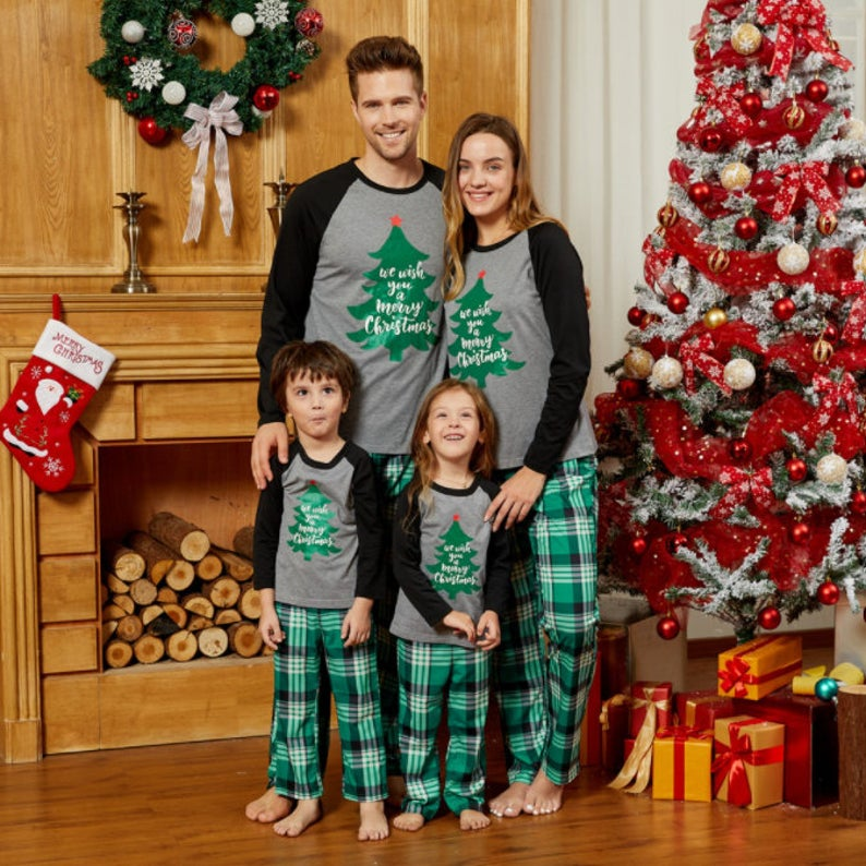 Christmas Family Matching Outfits Parent-child Clothes Set Pajama Long Sleeve Adult Kids T-shirt Pants Soft Home Sleep Nightwear