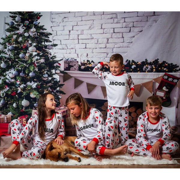 Matching Christmas Pajamas Family Sleepwear Suit 2pcs Printing Matching Outfits Dad Mom and Me Cotton Nightwear Dress Clothing