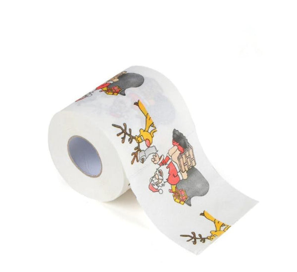 Christmas Roll Paper Printed Santa Claus And Elk Hot New Reindeer Christmas Toilet Paper Tissue Christmas Decorations For Home