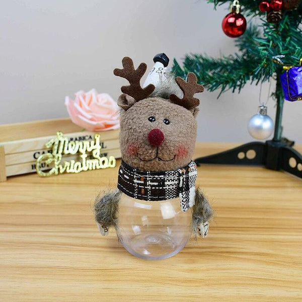 Plush Santa Claus Snowman Christmas Gift Boxs Kids Candy Jar Bottle Christmas Decoration Party Favors New Year Decor