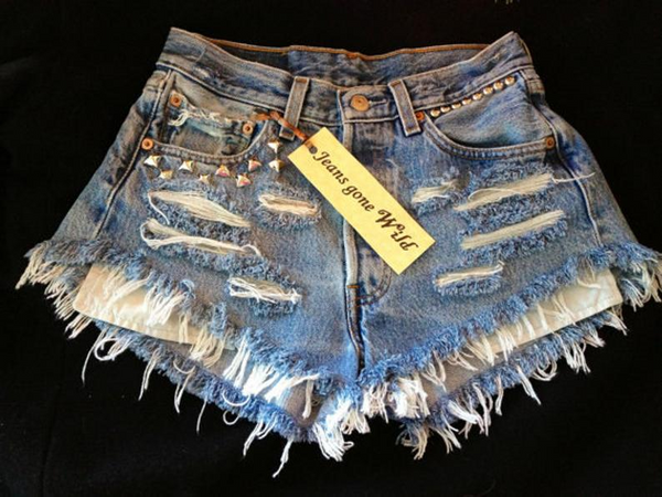 Levis High waisted Denim Shorts - Merica / patriotic shorts / american flag shorts / xxs xs s m l xl xxl / destroyed patriotic denim