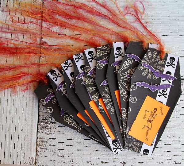 Coffin Shaped Halloween Tags with Skulls and Bats Set of 10 Spooky Black Dancing Skeletons Tags Unique Party Favors Halloween Decoration