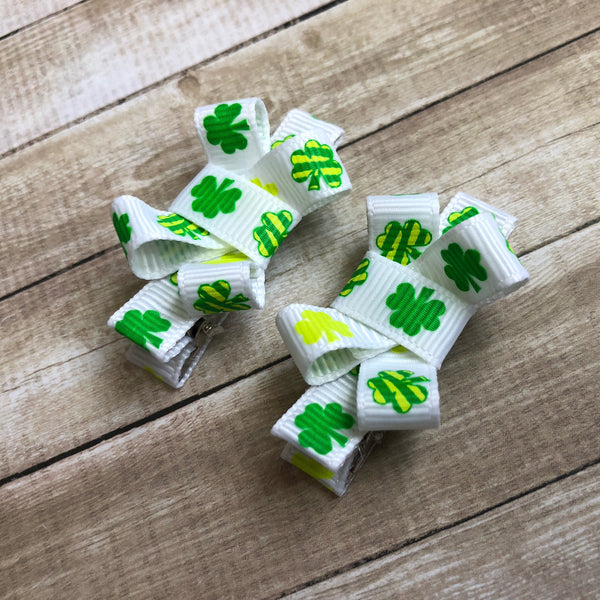Saint Patrick's Day Green and White Shamrock Hair Bows (Hair Clippies)-Small and gentle no slip hair clips for babies, and toddlers.