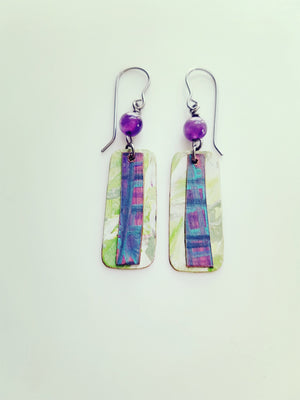 Purple Earrings, Green Earrings, Purple and Green, St Paddy's Day, Saint Patricks Day, Wood Earrings, Unique Jewelry, Shadyrestlane