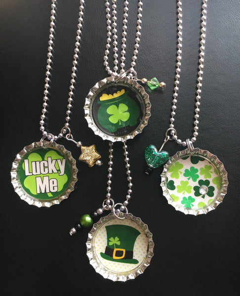 Saint Patrick's Day Lucky Green Shamrock Bottlecap Necklace