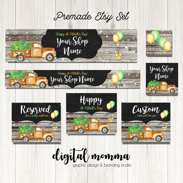 Premade St. Patrick Truck Shop Graphics, Saint Patrick's Day Facebook, Etsy Set, Etsy Cover