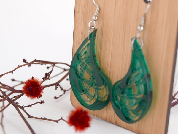 Green Tear Celtic Design Earrings, Laser Cut Acrylic, Perfect St Patrick's Day Jewelry Gift