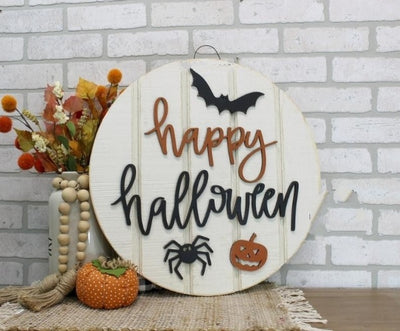 "Halloween Wreath 19.5"" Black and Orange Polka Dot Chevron Burlap Ribbon Happy Halloween Sign Halloween Wreath"