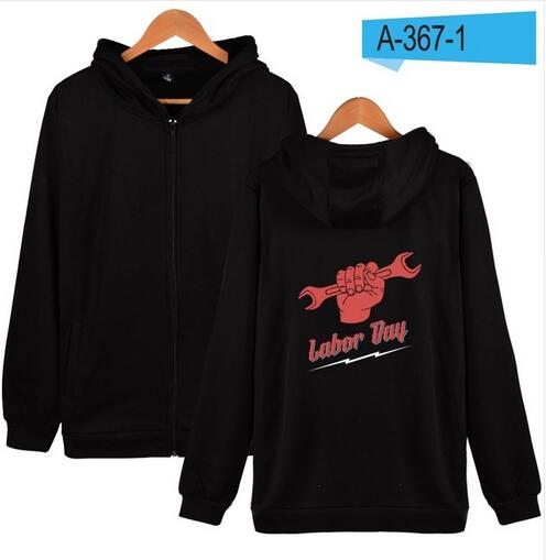 labor day Zipper hoodies men/women Fashion Black Cotton Winter Warm High Quality Hoodies Zipper men/women Clothes 4XL