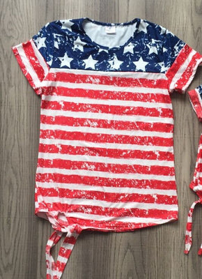 new July 4th summer baby girls clothes navy red stripes stars cotton top shirts raglans boutique mommy & me family look take bow