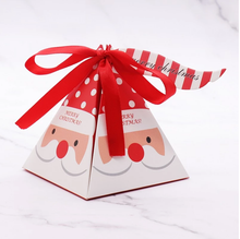 10 PCS/Set Merry Christmas Candy Box Bag Christmas Tree paper  Santa Claus gift box pyramid party chocolate box Christmas decor