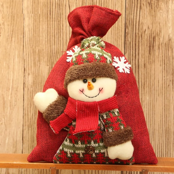New 1PC 20*28cm Santa Claus Snowman Elk Christmas Candy Packaging Christmas Candy Decoration Christmas Candy Jar