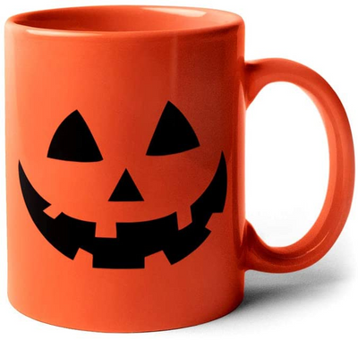 Pumpkin Face Coffee Mug for Halloween  |  orange campfire style coffee cup jack-o-lantern face mug