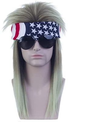 Freedom Mullets Headband Wig - Red, White, and Mullet