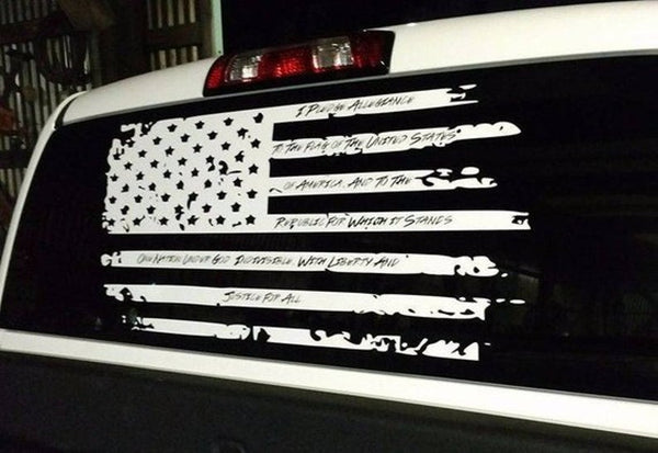 Distressed Pledge Flag Vinyl Decal USA American Flag Decal Pledge of Allegiance Truck Back Window Flag