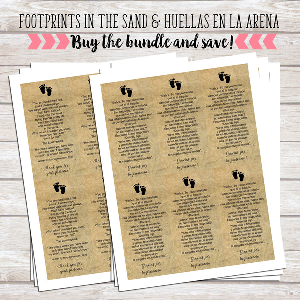 Bundle of Footprints in the Sand - English and Spanish Versions