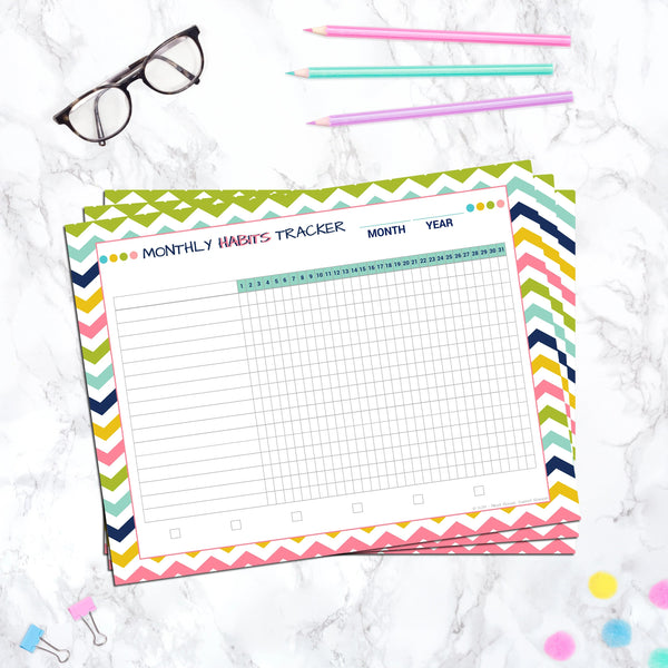 Editable Monthly Habit Tracker - Printable Template