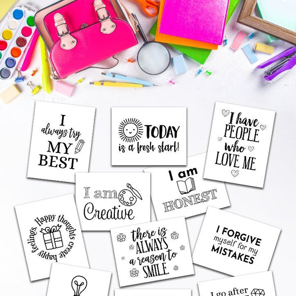 Set of Printable Positive Affirmations for Classroom or Homeschool