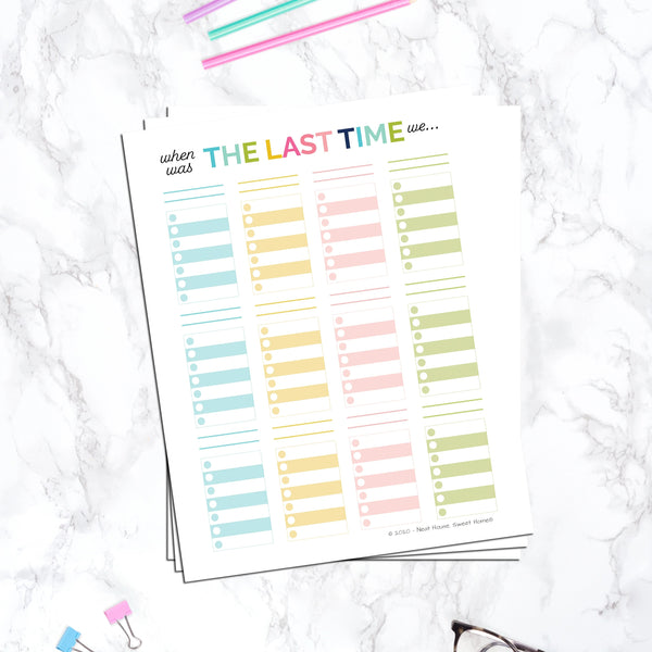 Chore Tracking Template - When to Clean Something Reminder