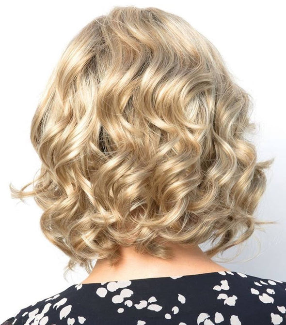 Golden short curly hair